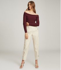 reiss tate - knitted bardot top in berry, womens, size xl