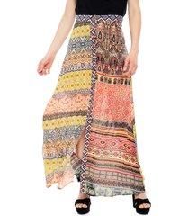 falda desigual larga mix multicolor - calce holgado