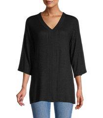bobeau women's v-neck three quarter-sleeve top - black - size m