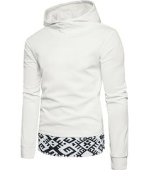 side pocket split hem patchwork pullover casual hoodie
