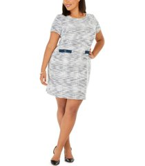 connected plus size sheath sweater dress