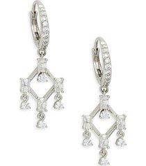 adriana orsini women's white rhodium-plated & crystal drop earrings