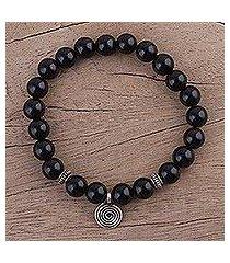onyx beaded stretch bracelet, 'midnight swirl' (india)