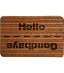 capacho carpet goobaye/hello marrom ãšnico love decor - marrom - dafiti