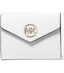 mk portafoglio a tre ante carmen medio in pelle saffiano - bianco ottico (bianco) - michael kors