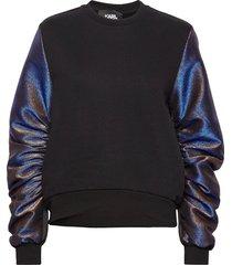 lurex sleeves mix sweatshirt sweat-shirt tröja svart karl lagerfeld