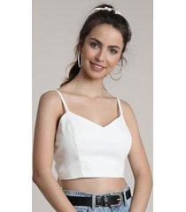 top cropped feminino com amarração decote v off white