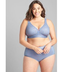 lane bryant women's cotton full brief panty with lace 34/36 country blue