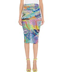 stretch tulle baroque multicolor ruched skirt