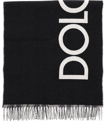 dolce & gabbana tartan and logo reversible scarf