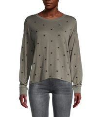 splendid women's embroidered star sweatshirt - olive - size m
