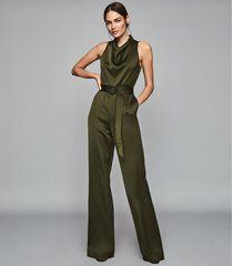 reiss milo - belted jumpsuit in khaki, womens, size 12