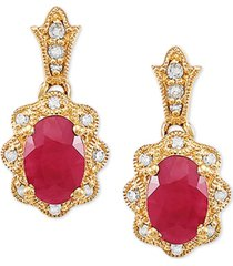 certified ruby (1-1/3 ct. t.w.) & diamond accent drop earrings in 14k gold