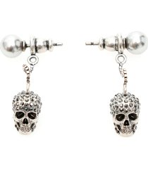 pave skull earrings