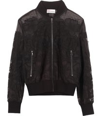red valentino embroidered tulle bomber jacket