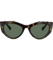 valentino eyewear tortoiseshell effect studded slim frames sunglasses
