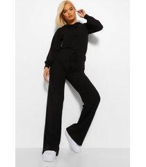 petite gebreide geribbelde hoodie en wide leg broek set, black