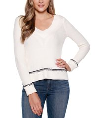 belldini black label crossover v-neck sweater with cuffed sleeves