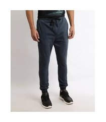 calça de sarja masculina jogger skinny com bolsos azul marinho