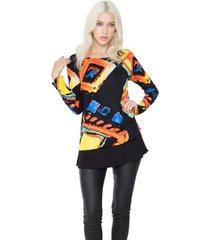 exotic print multicolor hand-painted top by adore
