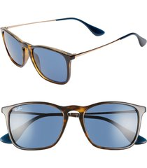 ray-ban youngster 54mm square keyhole sunglasses - tortoise/ blue solid