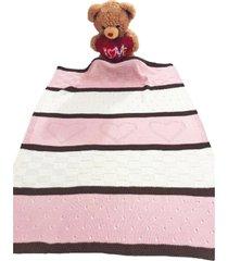 manta beb㊠tricot tric㔠3 cores maternidade recã‰m nascido cod 1049.1 rosa - multicolorido - dafiti
