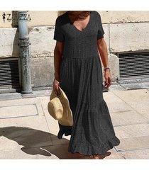 zanzea para mujer del lunar de la playa de bohemia partido de las señoras del vestido largo maxi vestidos kaftan -negro