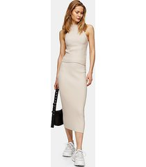 stone ribbed knitted skirt - stone