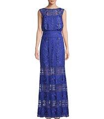 illusion lace blouson gown