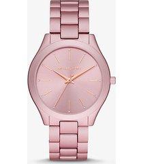 mk orologio runway sottile oversize in alluminio tonalità rosa - rosa (rosa) - michael kors