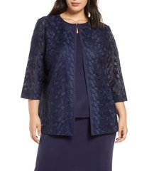 ming wang lace & knit jacket, size 1x in indigo/white at nordstrom