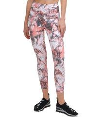 dkny sport women's printed high-waist 7/8 leggings