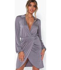 nly one wrap skirt collar dress fodralklänningar