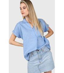 blusa azul etam agni