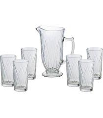 conjunto bon gourmet com 6 copos e 1 jarra vidro triangle incolor - kanui