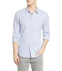 men's bonobos slim fit plaid button-up performance shirt, size xx-large r - blue