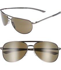 smith serpico slim 2.0 60mm chromapop polarized aviator sunglasses in gunmetal/grey polar at nordstrom