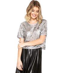 blusa colcci paetês prata