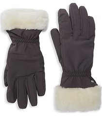 water-resistant nylon & shearling-cuff gloves