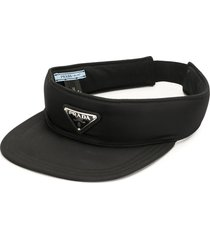 prada pre-owned triangle logo sun visor - black