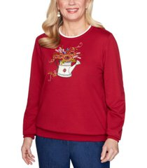 alfred dunner petite watering can-embroidered sweatshirt