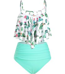 cutout flounce ruched cactus print tankini swimsuit