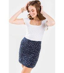 camorenn ruched polka dot mini skirt - navy