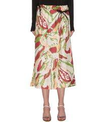 abstract print back pleat silk wrap skirt