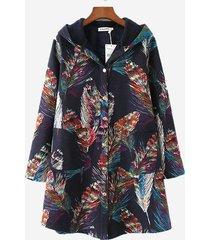 cappotto con cappuccio in cotone stampa fantasia