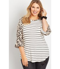 maurices plus size womens 24/7 leopard ruffle trim sleeve baseball tee beige