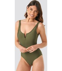 trendyol collar v detailed swimsuit - green