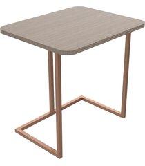 mesa lateral 55 cm bronze madeirado escuro mdf lilies móveis
