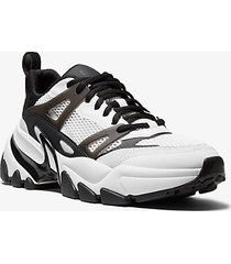 mk sneaker nick in pelle e mesh - bianco/nero (bianco) - michael kors