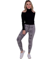 calça miss misses legging com animal print cinza